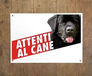 TERRANOVA 1 Attenti al cane Targa cartello metallo Beware dog metal sign