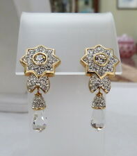 "1 3/4"" LONG SIGNED SWAROVSKI PAVE-SET RHINESTONE FACETED CRYSTAL DANGLE EARRINGS"
