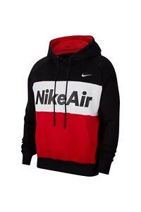 Nike NSW Air Fleece Crew Jumper Mens Kapuzenpullover Hoodie Herren Rot