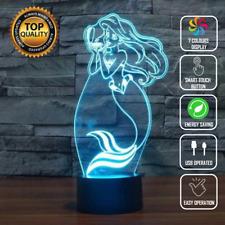 Ariel Mermaid Disney Princess 3D Night Light LED 7 Colour Touch Desk Lamp Gift