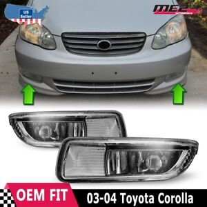 For Toyota Corolla 03-04 Factory Bumper Replacement Fit Fog Lights Clear Lens