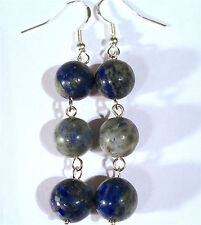 Pretty 925 Silver Indian Lapis Dangle Earrings, long
