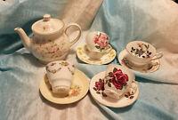 Vintage Lot of 4 Tea Cups Saucers Sadler Tea Pot Bone China England All Perfect!