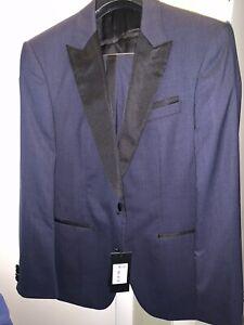 New Hugo Boss Tuxedo Men 2 Piece Suit Pants & Jacket Peak Lapel Navy 40R $995