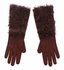 NWT $640 DOLCE & GABBANA Brown Lambskin Fur Leather Wrist Gloves Silk s. 7.5 / M