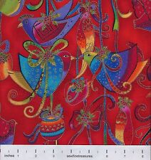 Laurel Burch Holiday Celebrations BIRDS RED Christmas OOP Fabric By FQ - 1/4 YD