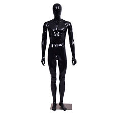 Male Mannequin Egghead Plastic Full Body Dress Form Display High Gloss Black New