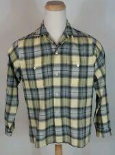 Vintage 40's 50's Rayon Wool Blend Flannel Plaid loop Collar Rockabilly Shirt L