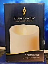 """Luminara Realistic Flame Pillar Candle Moving Flicker, Timer 5"""" ~IVORY~ w REMOTE"""
