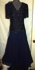 NWT NAVY blue beaded evening dress mother bride formal Large tall full sweep L M