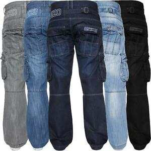 Mens Cargo Combat Jeans Heavy Work Trousers Denim Pants Big King Tall All Waists