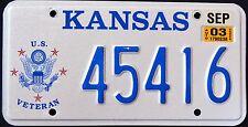 "KANSAS "" US  VETERAN - EAGLE "" KS Military Specialty License Plate"