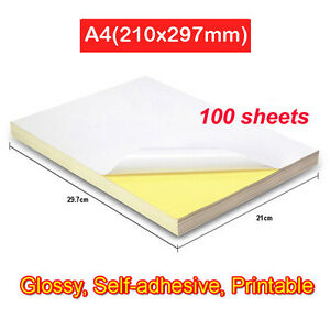 100 sheets A4 Blank White Glossy Self Adhesive Sticker Paper Printable 210x297mm