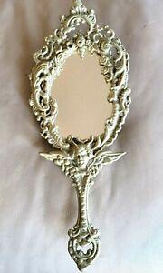 Antique Vintage Brass Ornate Art Nouveau Hand Mirror Vanity Cherub Angel Footed