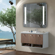 Bathroom Home Space Saving Mirror Cabinet with LED Illuminated Unit Wall Hung UK