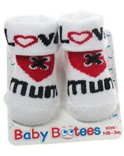 NEW Soft touch Baby bootees love mum heart socks new born - 3 mnths feet shoe