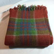 "Vintage Wool Stadium Throw Blanket Afghan Tartan Plaid Fringe 50"" x 52"""
