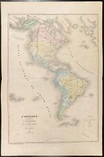 1860 - Amérique. Carte géographique ancienne de Schnitzler. États-Unis, Mexique