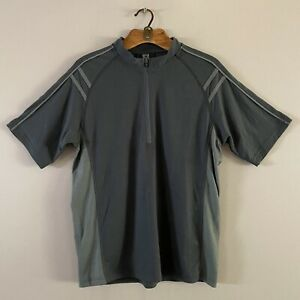 Smartwool Men's Short Sleeve Half-Zip Back Pocket  Grey Sage MEDIUM Tiny Hole