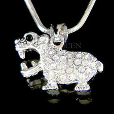"3D Hippopotamus Hippo made with Swarovski Crystal Endangered Animal 18"" Necklace"