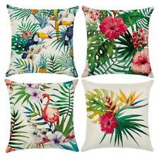4PCS Lin Tropical Flamingo Hibiscus Imprimé Coussin Taie d'oreiller 45 * 45cm SP