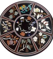 """24"""" Marble coffee Table Top multi stones marquetry floral Inlay work"""