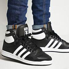 Nuevo adidas Originals Top Diez Piel Negra Hombre Hi Top Zapatillas Todo Talla