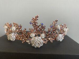 Rose Gold White Rose Diamanté Bridal Tiara christmas Wedding Accessories