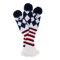 3Pcs Pom Pom Golf Headcover Driver Fairway Wood Club Head Cover Knit Socks