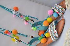 Boho Women Summer Beads Sandals Rome Flat Shoes Pom-Pom Sandals Beach Shoes uk 4