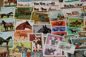 BULK LOT HORSES THEMED STAMPS X 50  GOOD MIX FREE POSTAGE IN OZ