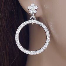 #E645A Comfy CLIP ON EARRINGS Dangle Circle Drop With Flower Crystal Amazing New