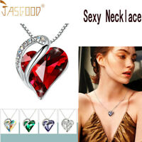Infinity Love Heart Pendant Necklace Birthstone Crystal Jewelry Gifts for Womens