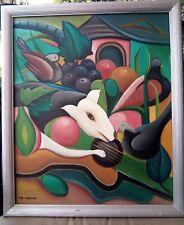 Haitian Fine Art Painting Fritzner Alphonse 20″X24″ Haiti Folk Dog Bird Vintage