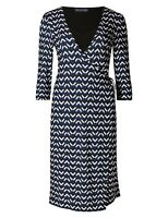 Marks & Spencer Navy Chevron Wrap Dress with 3/4 Sleeves & V Neckline Orig Price