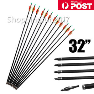 "NEW 12PCS 32"" FiberGlass Arrows Archery Hunting Compound Bow Fiber Glass Bows AU"