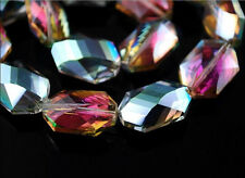 10pcs Hot Colorized Glass Crystal Oval Hexagon Beads 18x12mm Spacer Crafts