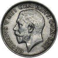 1918 SHILLING - GEORGE V BRITISH SILVER COIN - V NICE