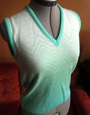 M Sz 10 True Vtg 70's V-neck Wild Green Zig Zag Acrylic Knit Top Womens Shirt