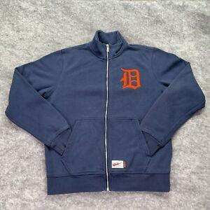 Detroit Tigers Sweatshirt Men Medium Blue Orange Nike Full Zip Mock Neck MLB