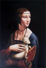 Leonardo da Vinci Lady with an Ermine Repro, Hand Painted Oil Painting 24x36in