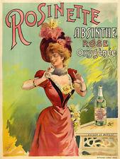 Rosinette Absinthe liqueurs vintage ad reproduction steel sign bar decor