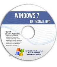 WINDOWS 7 Ultimate Starter Home Professional 32&64 Bit (SP1) ReINSTALL DVD w/HD