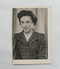 Vintage 1943 B/W Photograph. Portrait of Woman. WWII Style Hairstyle & Jacket