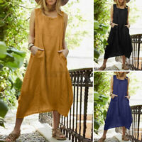 ZANZEA Womens Summer Holiday Sleeveless Cotton Irregular Hem Kaftan Shirt Dress