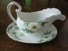 Royal Tuscan Fine Bone China Gravy Boat Pitcher & Under Plate, Dogwood C9790