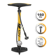 BV Bike Floor Pump Ergonomic w/ Large Gauge Presta&Schrader Steel Barrel 160 PSI