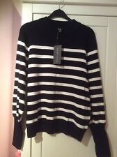 Womens top New Look size 12 BNWT black and white stripes Deep Cuff jumper
