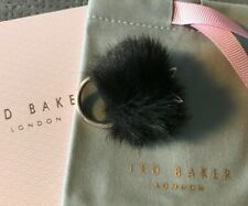 Ted Baker Bunny Tail Ring Black Rose Gold Tone Small/Medium