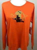Erika Tabitha Halloween Long Sleeve Top Tee Shirt Orange Gold Witch